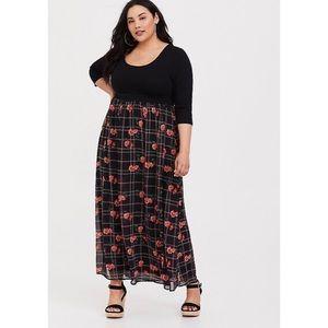 Torrid Knit to Woven Maxi Dress